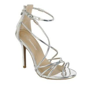 Silver Strappy Open Toe High Heels